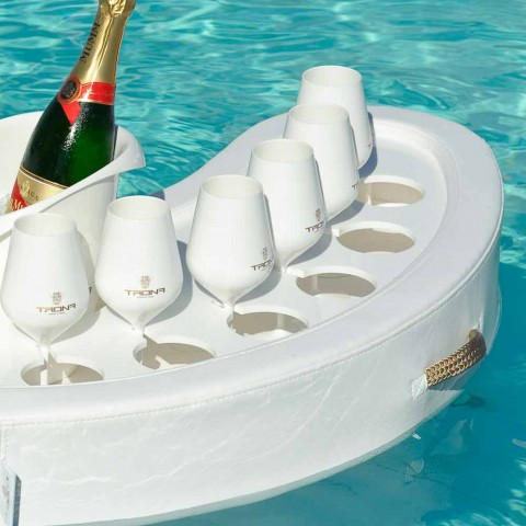 bar en la piscina Trona de imitación de cuero blanco náutico y de plexiglás