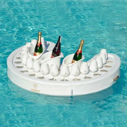 Bar flotante de ecopiel náutica blanca y plexiglás Trona
