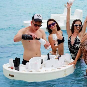 Barra flotante Trona en piel eco náutica blanca y plexiglás