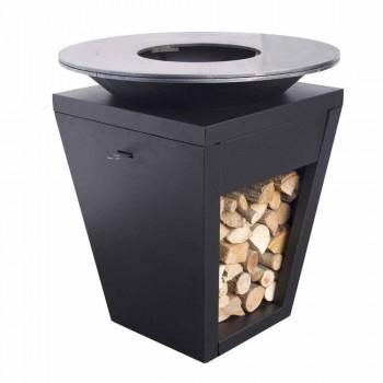 Barbacoa de leña con placa de cocción y compartimento porta madera - Ferran