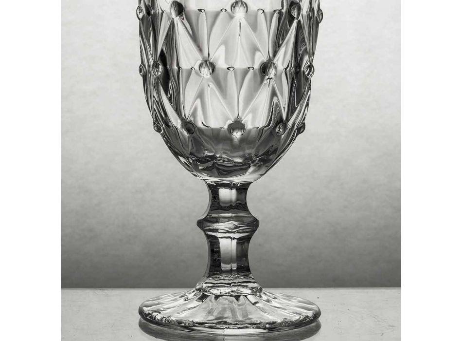 Cáliz en Vidrio Transparente con Decoración en Relieve 12 Piezas - Angers