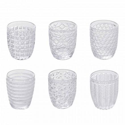 Vasos De Agua De Vidrio Transparente Decorados, Servicio Moderno 12 Piezas - Mezcla