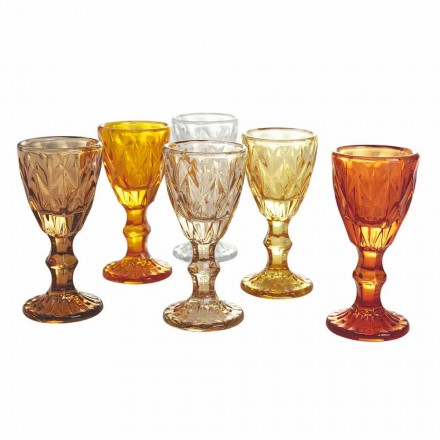 Vasos cáliz para licor en vidrio azul degradado o ámbar, 12 piezas - Poliedro