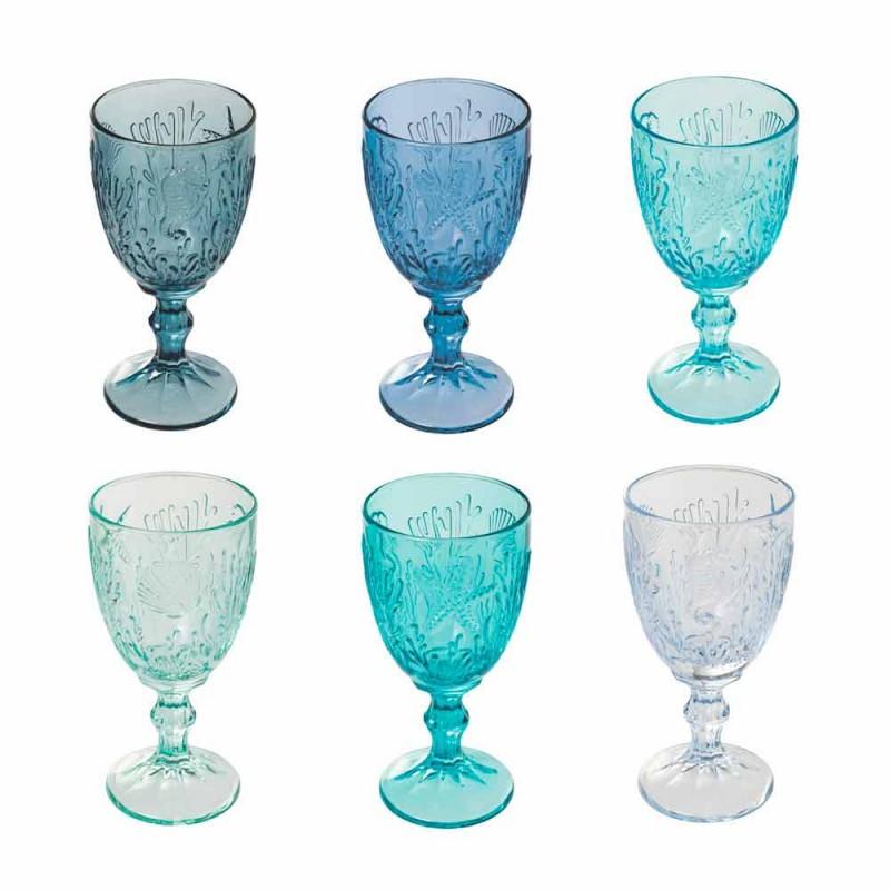 Copas De Vino De Color Agua O Vaso Marine Decor 12 Piezas - Mazara