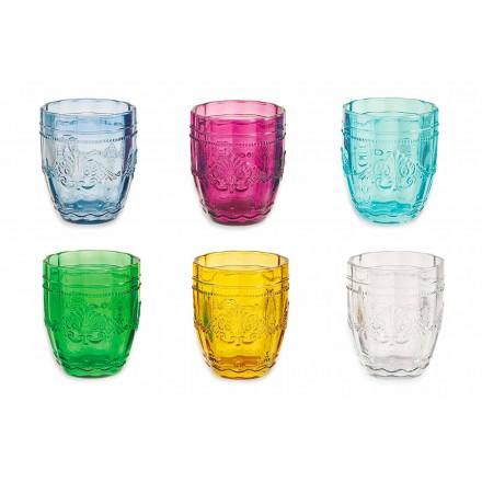 Gafas de colores y elegantes en servicio de vidrio de 6 piezas para agua - Tornillo