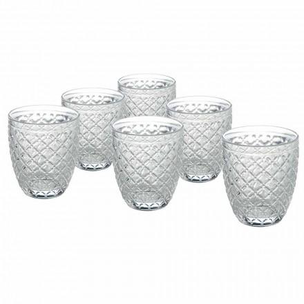 Vasos de agua de vidrio transparente con decoraciones talladas 12 piezas - Rocca