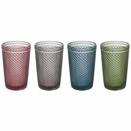 Vasos para agua o bebida en vidrio coloreado y procesado, 8 piezas - Pastilla
