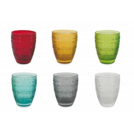 Vasos modernos de vidrio coloreado para agua - Folk