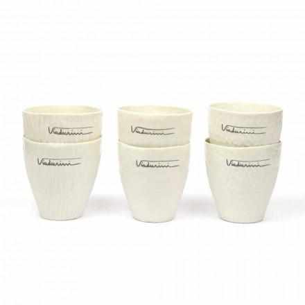 Vasos De Porcelana Blanca De Diseño De Lujo 6 Piezas Únicas - Arcireale