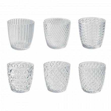 Vasos De Vidrio Transparente Decorados, Servicio De Agua Moderno 12 Piezas - Mezcla