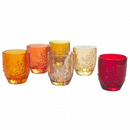 Vasos de agua de vidrio coloreado con decoración de coral, 12 piezas - Crimson