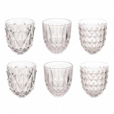 Vasos para Agua en Vidrio Transparente y Decoración Relieve 12 Piezas - Angers