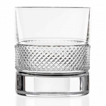 Vasos bajos de cristal ecológico con decoración de lujo 12 piezas - Milito
