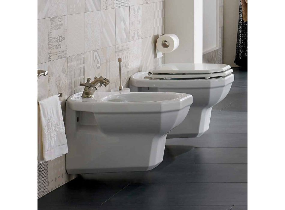 Bidé colgante de pared de cerámica blanca estilo vintage, Made in Italy - Nausica