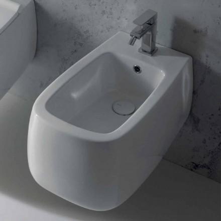 Diseño suspendido de bidé en cerámica blanca Gaiola, fabricado en Italia.
