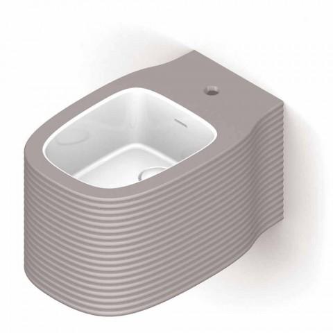 Bidé suspendido de cerámica de diseño moderno producido en Italia, Hamlet