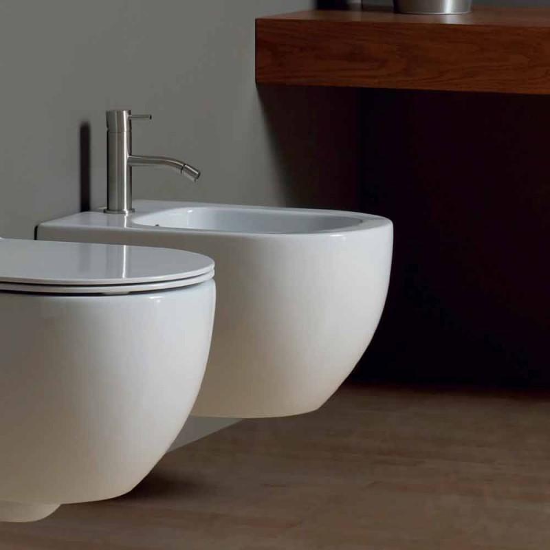 Moderno colgante de pared bidet en cerámica blanca Star 50x35cm hecho en Italia