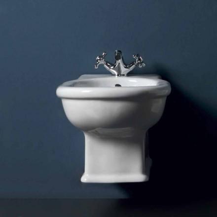 Bidé suspendido en cerámica blanca Estilo 54x36 cm, hecho en Italia