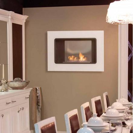 Chimeneas de pared de bioetanol con un diseño moderno, color blanco - Erica