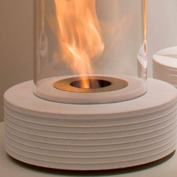 Biocamino mármol soporte circular Gordon, fabricado en Italia