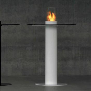 Biocamino bioetanol al aire libre con tapa de cristal Dean-Tabla