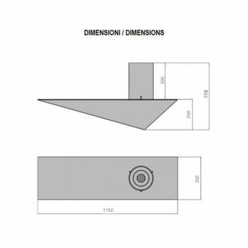 Biochimenea de pared de diseño moderno en acero pintado y vidrio - Malcolm