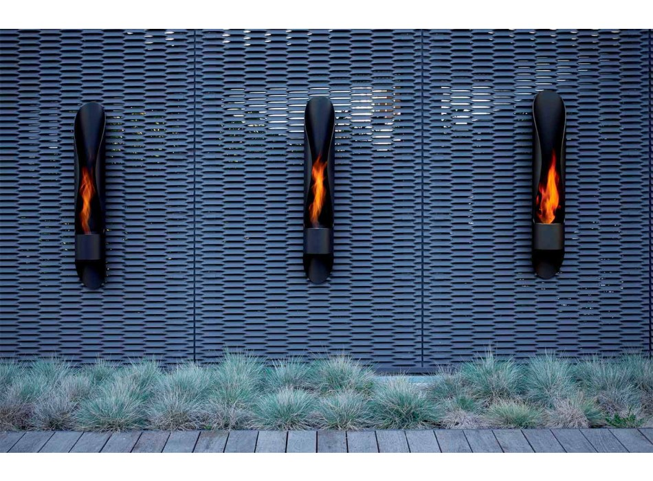 Biochimenea de pared de diseño tubular y moderno en acero negro - Jackson