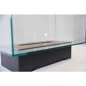 Biochimenea de piso de diseño moderno en vidrio y acero o corten - Bradley