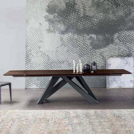Mesa extensible Bonaldo Big Table hecha de madera de diseño de Italia