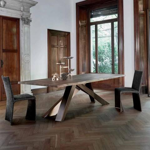 Bonaldo Big Table mesa de madera maciza con bordes naturales fabricados en Italia