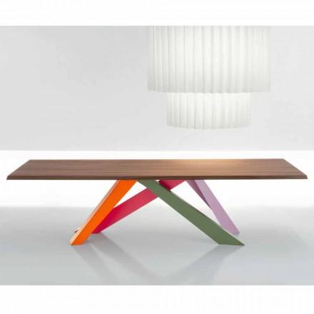 Mesa de madera maciza de nogal americano Bonaldo Big Table fabricada en Italia