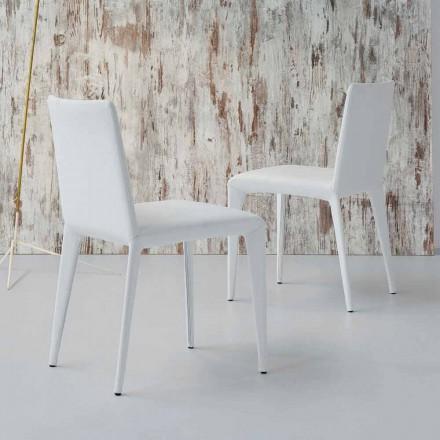Silla de diseño tapizada Bonaldo Filly en piel blanca fabricada en Italia