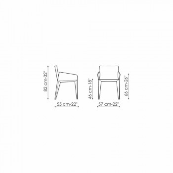Bonaldo Miss Filly silla tapizada de cuero con brazos fabricada en Italia
