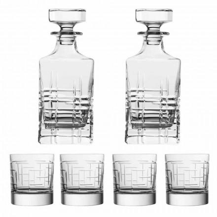 Botella y vasos de whisky de cristal ecológico de lujo de 6 piezas - Arritmia