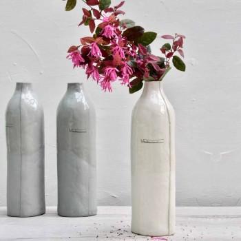 Botellas De Porcelana Blanca Y Gris De Diseño De Lujo 2 Piezas Únicas - Arcivero
