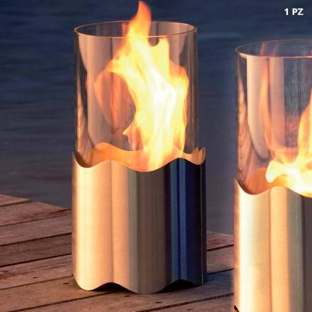 Chimenea bioetanol de sobremesa de acero inox y cristal Leon