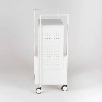 Carro de diseño en acero con tapa de fresno Made in Italy - Murella