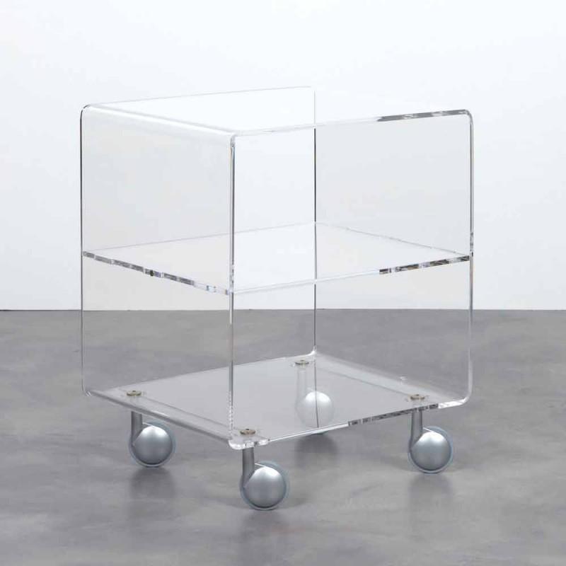 carro Multiuso en transparentes metacrilato de 4 compartimentos y ruedas Rob