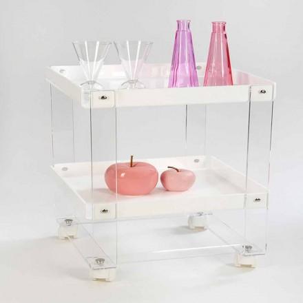Carrito de comida de diseño con 2 estantes en plexiglás, Diso.
