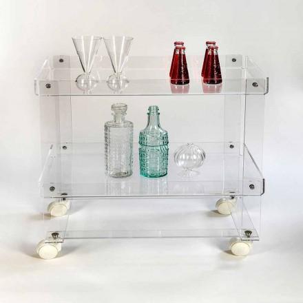 Moderno 2 estantes food-trolley L 60,5 cm en plexiglás, Diso