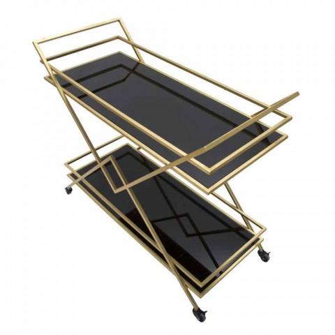 Carrito de servicio de diseño rectangular en MDF y espejo de hierro - Corinne