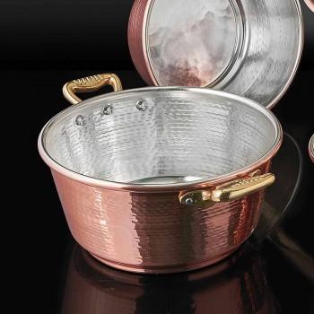 Cacerola de Cobre Cónico Estañado a Mano y Tapa 24 cm - Marialuna