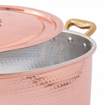 Cacerola ovalada de cobre estañado a mano para horno y tapa 37x26 cm - Mariag