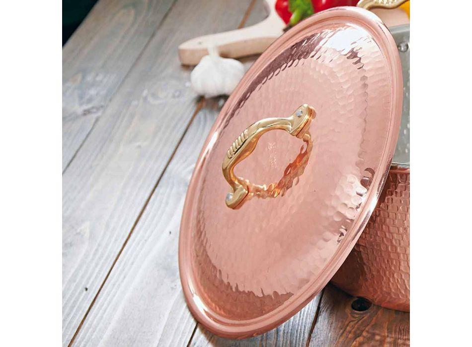 Cacerola mediana de mano redonda de cobre estañado con 2 asas 28 cm - Gianfranco