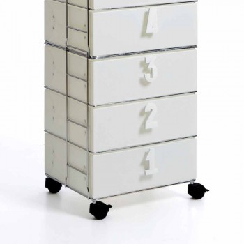 Cajón 6 cajones en MDF blanco con asas numéricos yodi