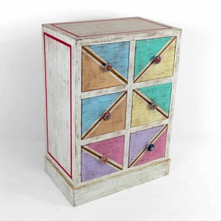Cómoda de madera hecha a mano con cajones de colores Made in Italy - Brighella