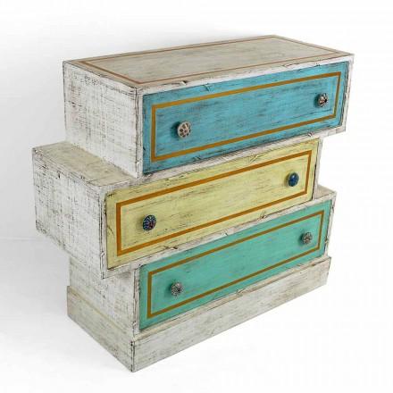 Cómoda con cajones de colores y pomos de cerámica Made in Italy - Hendriks