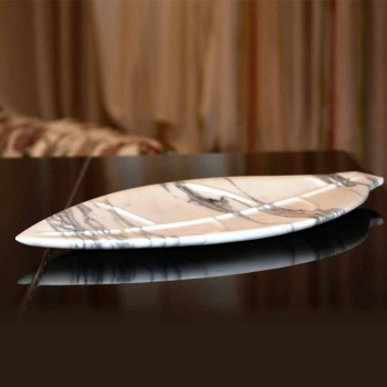 Centro de mesa en mármol Arabescato con forma de hoja Made in Italy - Treviso