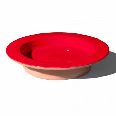 Centro de mesa redondo en terracota y cerámica esmaltada Made in Italy - Brooke