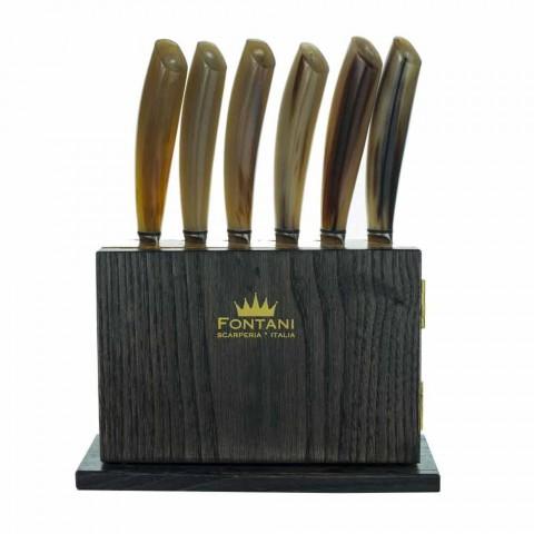 Bloque magnético de 12 en madera de olivo y castaño Made in Italy - Bloque